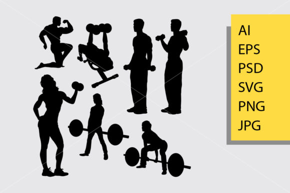 Body Builder and Fitness 1 Silhouette Graphic Illustrations By Cove703