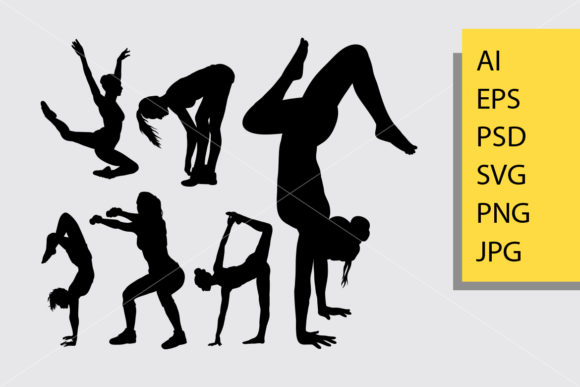 Body Builder and Fitness 5 Silhouette Graphic Illustrations By Cove703