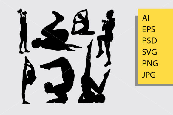 Body Builder and Fitness 4 Silhouette Graphic Illustrations By Cove703