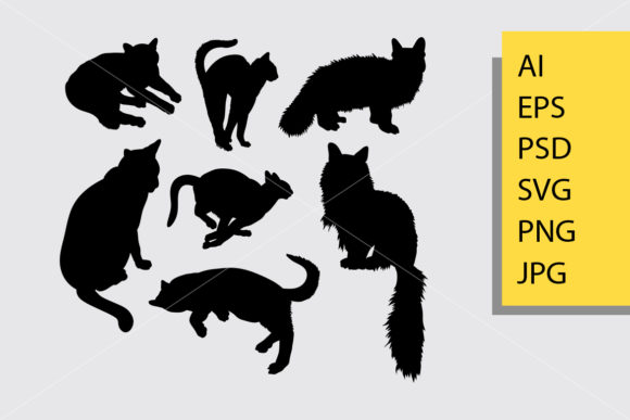 Cat Animal Silhouette Graphic Illustrations By Cove703