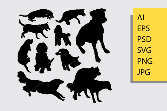 Dog Animal 10 Silhouette Graphic Illustrations By Cove703 - Image 1