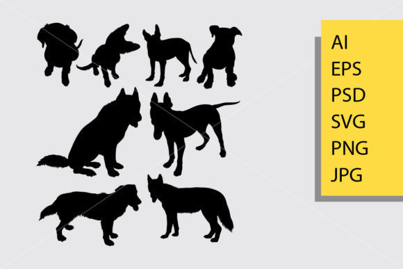 Dog Animal 11 Silhouette Graphic Illustrations By Cove703