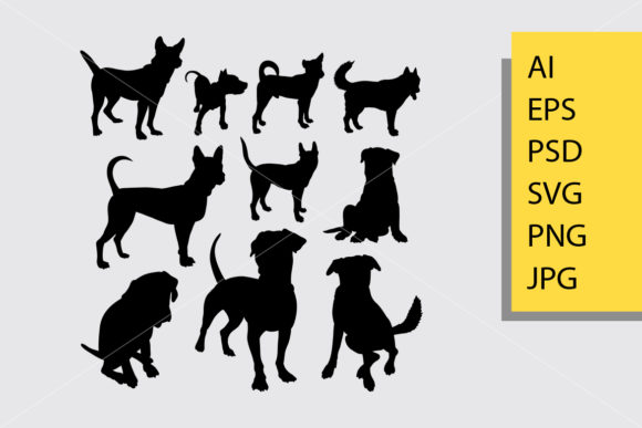 Dog Animal 12 Silhouette Graphic By Cove703