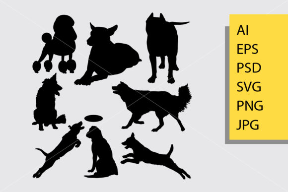 Dog Animal 14 Silhouette Graphic By Cove703