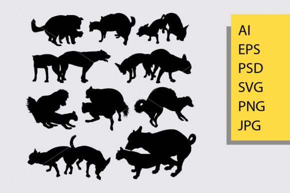 Dog Animal 15 Silhouette Graphic Illustrations By Cove703