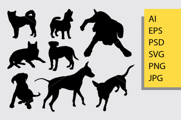 Dog Animal 4 Silhouette Graphic Illustrations By Cove703
