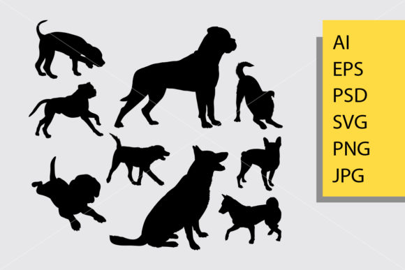 Dog Animal 5 Silhouette Graphic Illustrations By Cove703
