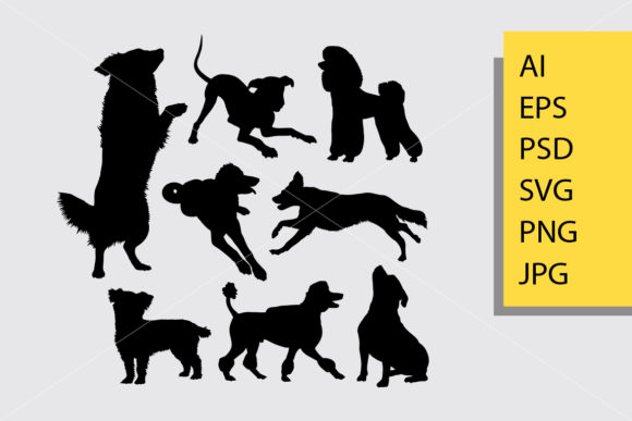 Dog Animal 6 Silhouette Graphic By Cove703