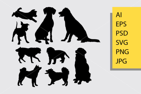 Dog Animal 7 Silhouette Graphic Illustrations By Cove703