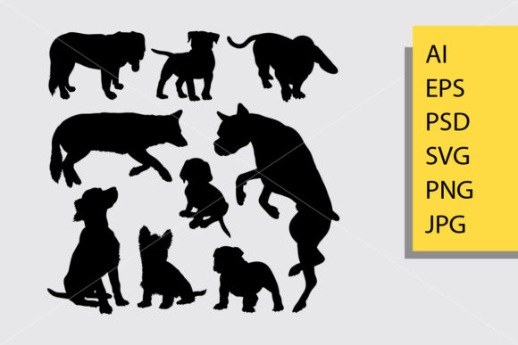 Dog Animal 8 Silhouette Graphic Illustrations By Cove703