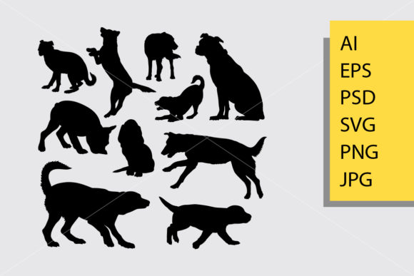 Dog Animal 9 Silhouette Graphic Illustrations By Cove703