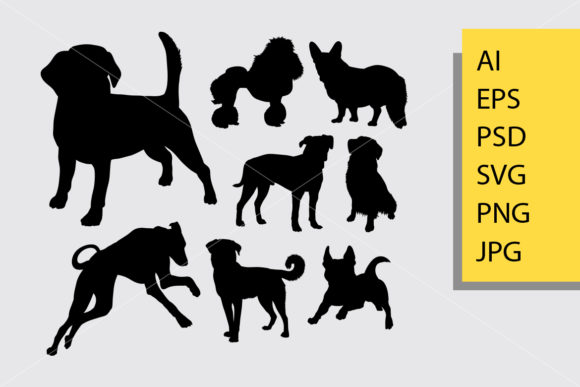 Dog Animal 3 Silhouette Graphic By Cove703