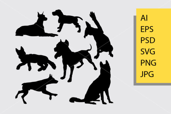 Dog Animal 17 Silhouette Graphic Illustrations By Cove703