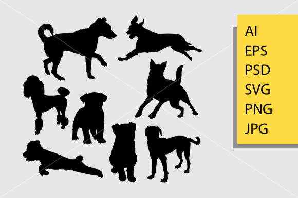 Dog Animal 20 Silhouette Graphic By Cove703