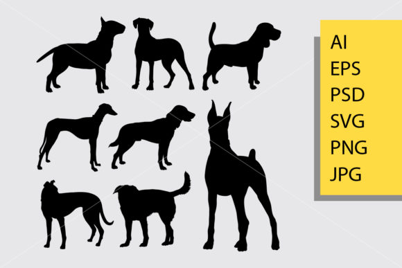 Dog Animal 2 Silhouette Graphic Illustrations By Cove703