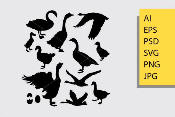 Duck Animal Silhouette Graphic Illustrations By Cove703