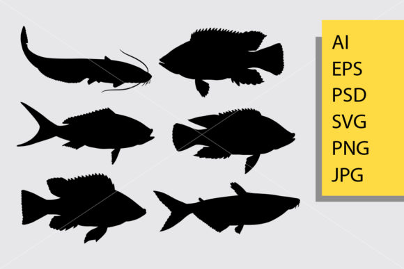 Fish Animal 1 Silhouette Graphic Illustrations By Cove703