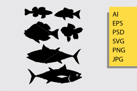 Fish Animal 3 Silhouette Graphic Illustrations By Cove703