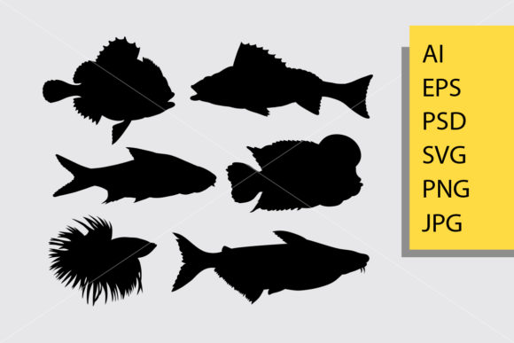 Fish Animal 4 Silhouette Graphic Illustrations By Cove703