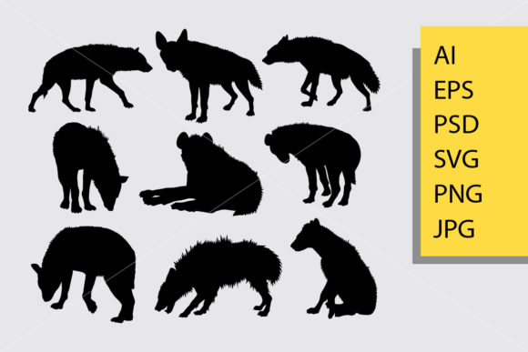 Hyena Animal 2 Silhouette Graphic Illustrations By Cove703