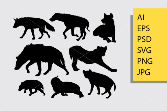 Hyena Animal 4 Silhouette Graphic Illustrations By Cove703