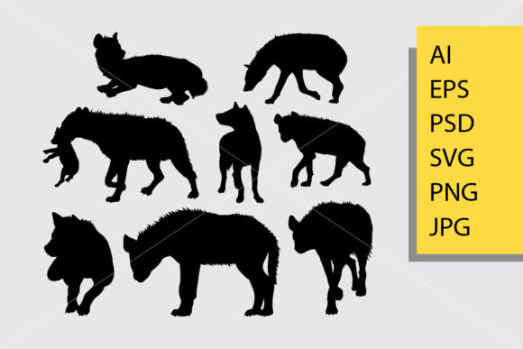 Hyena Animal 3 Silhouette Graphic Illustrations By Cove703