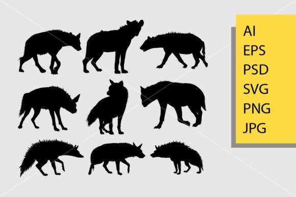 Hyena Animal 1 Silhouette Graphic Illustrations By Cove703