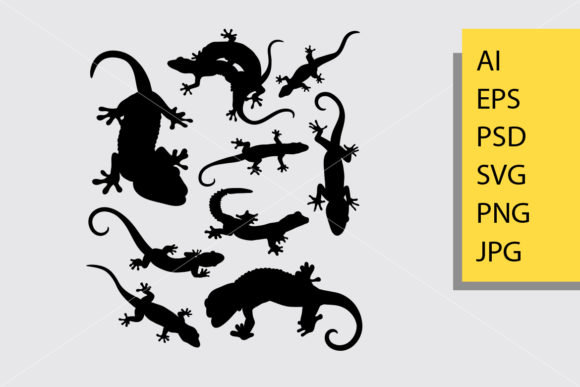 Lizard and Gecko Silhouette Graphic By Cove703