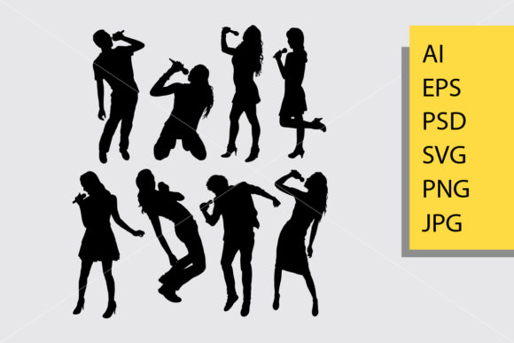 Singer Male and Female Silhouette Graphic Illustrations By Cove703