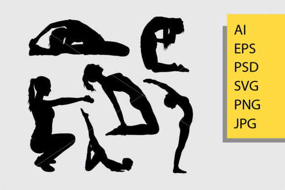 Body Builder and Fitness 6 Silhouette Graphic Illustrations By Cove703