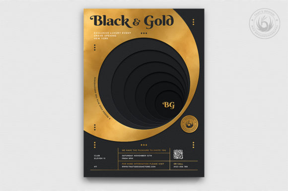 Black and Gold Flyer Template V11 Graphic By ThatsDesignStore