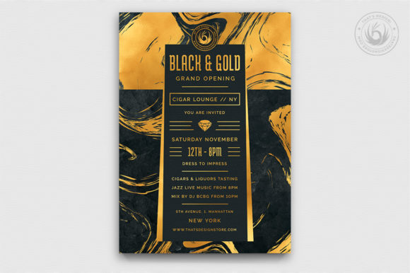 Black and Gold Flyer Template V12 Graphic By ThatsDesignStore