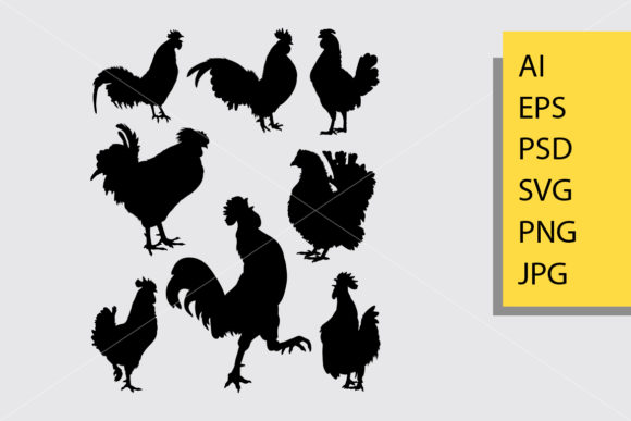 Rooster 3 Silhouette Graphic Illustrations By Cove703