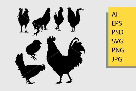Rooster 4 Animal Silhouette Graphic Illustrations By Cove703