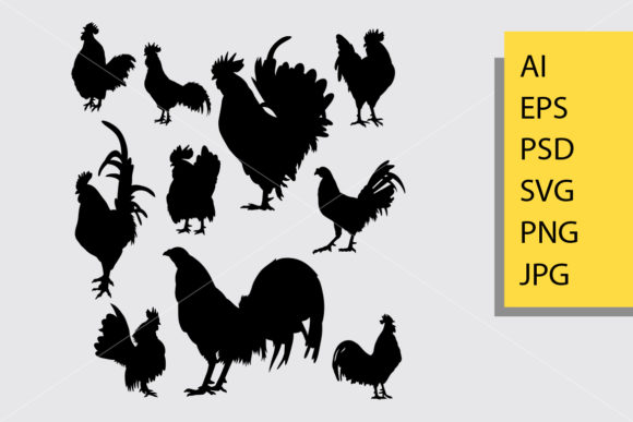 Rooster 5 Animal Silhouette Graphic Illustrations By Cove703 - Image 1