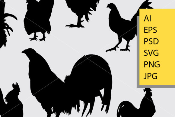 Rooster 5 Animal Silhouette Graphic Illustrations By Cove703 - Image 2