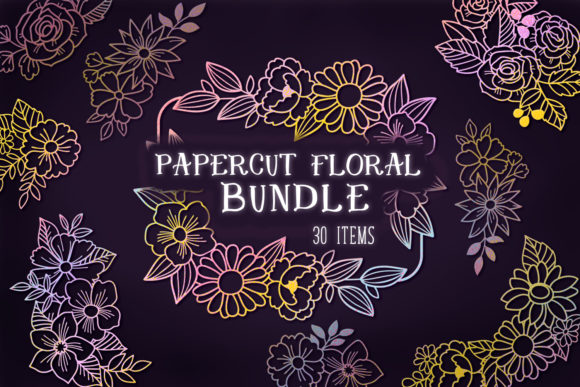 Print on Demand: Papercut Floral Bundle- 30 SVG Items Gráfico Crafts Por tatiana.cociorva
