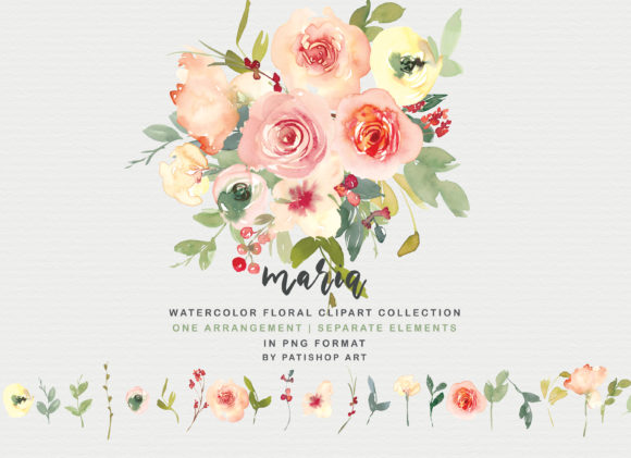 Vanilla and Blush Watercolor Floral Set Gráfico Por Patishop Art