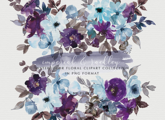 Purple & Blue Watercolor Floral Set Graphic Illustrations By Patishop Art