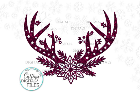 Floral Christmas Deer Antlers Svg Cut Graphic Crafts By Cornelia - Image 1