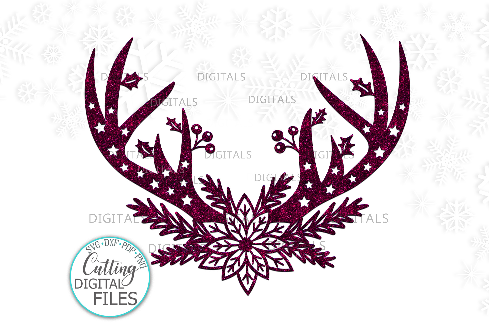 Download Free Floral Christmas Deer Antlers Svg Cut Graphic By Cornelia for Cricut Explore, Silhouette and other cutting machines.