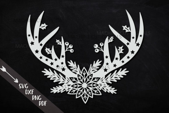 Floral Christmas Deer Antlers Svg Cut Graphic Crafts By Cornelia - Image 3