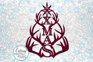Download Free Deer Antlers Xmas Tree Svg Laser Cut Out Graphic By Cornelia for Cricut Explore, Silhouette and other cutting machines.