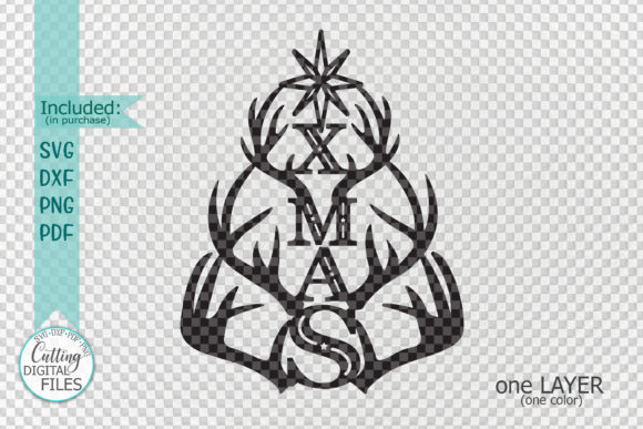 Deer Antlers Xmas Tree Svg Laser Cut Out Graphic By Cornelia