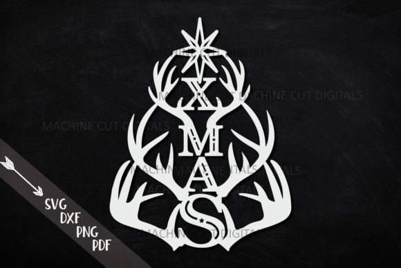 Download Free Deer Antlers Xmas Tree Svg Laser Cut Out Graphic By Cornelia SVG Cut Files
