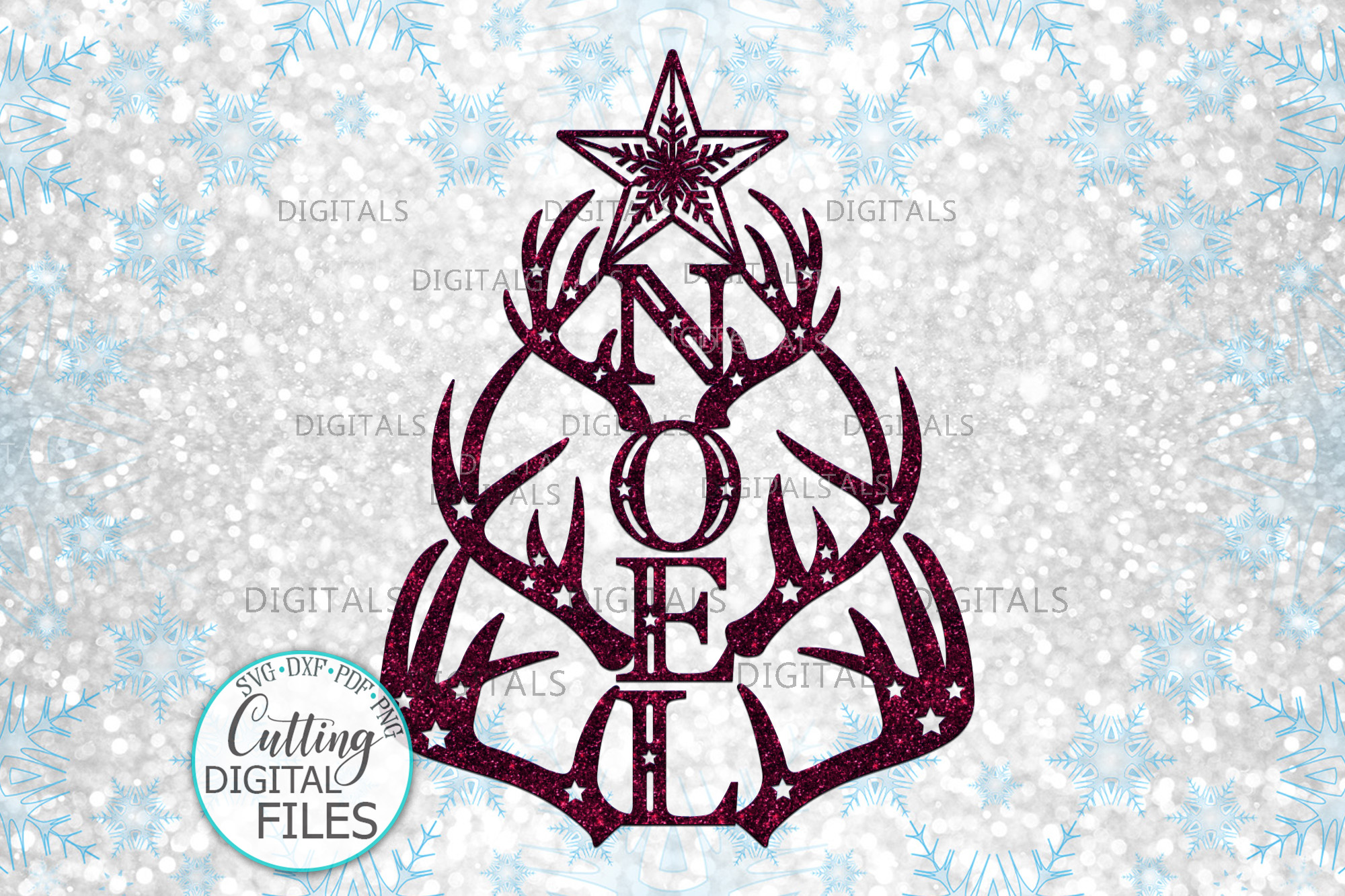 Download Free Noel Christmas Tree Deer Antlers Svg Cut Graphic By Cornelia for Cricut Explore, Silhouette and other cutting machines.