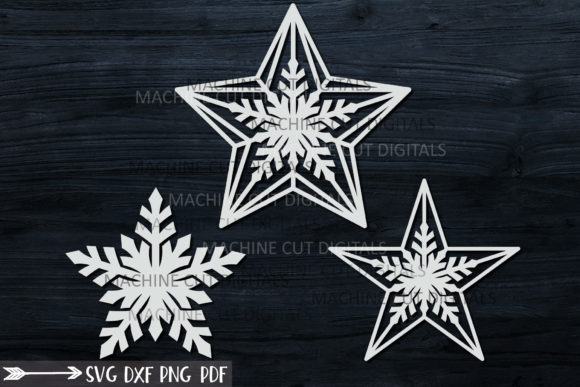 Christmas Star Set Laser Cut out Graphic