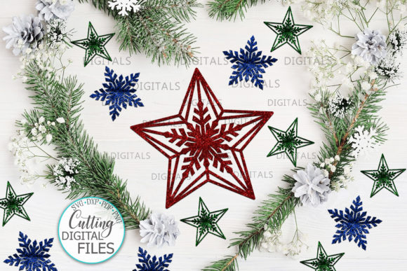 Christmas Star Set Svg Laser Cut out Graphic Crafts By Cornelia - Image 3