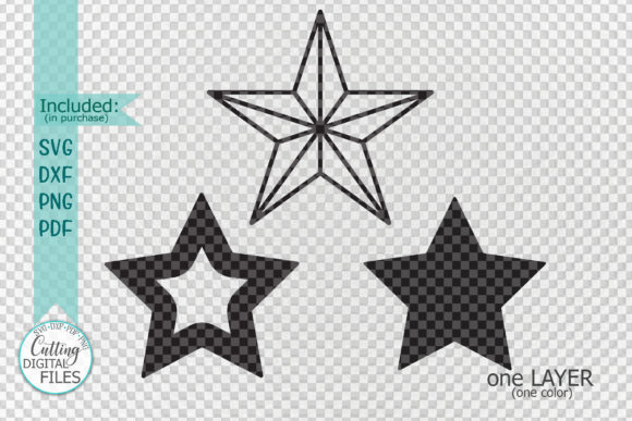 Christmas Star Set Laser Cut out Graphic Preview