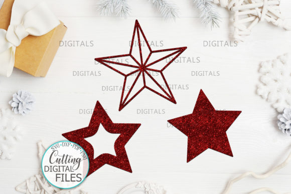 Christmas Star Set Laser Cut out Graphic Image